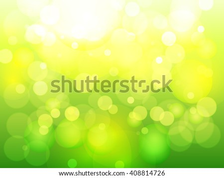 Vector green bokeh light background - stock vector