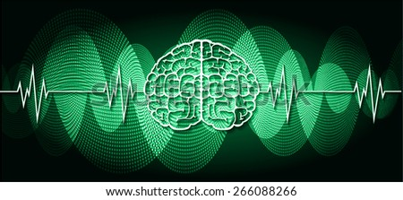 vector green brain processes technology, creative idea concept. wave - stock vector