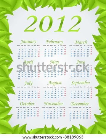 Vector green calendar (week starts on Monday) - stock vector