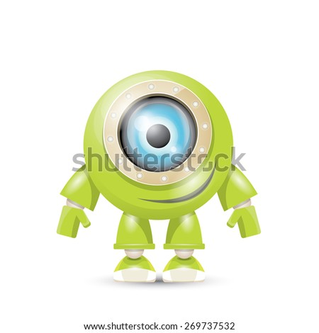 vector green cartoon friendly robot isolated on white - stock vector