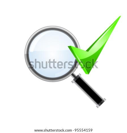 Vector green checkmark and magnifying glass. Vector - stock vector