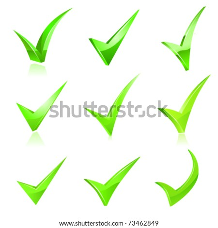 Vector green checkmark set - stock vector
