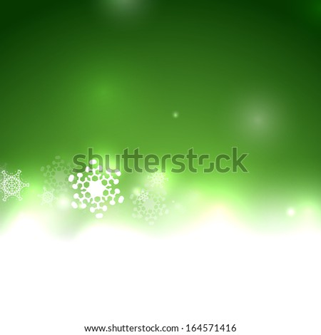 Vector green Christmas card bokeh and snowflakes - stock vector