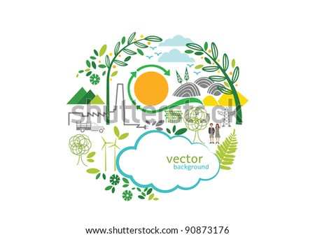 vector - green circle - stock vector