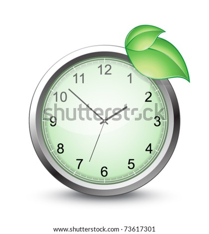vector green clock - stock vector