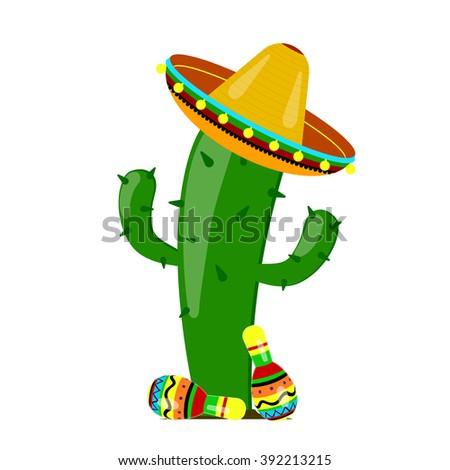 vector green colorful cactus sombrero maracas stock vector royalty
