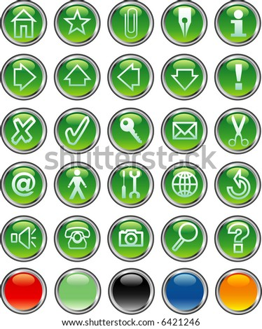 vector green computer and web buttons