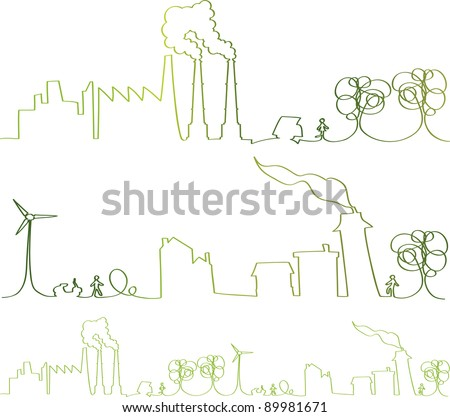vector - green continuous line with nice hand-drawn vector elements - stock vector