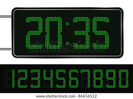 Vector Green Digital Clock - stock vector