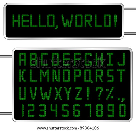 Vector Green Digital Font - stock vector