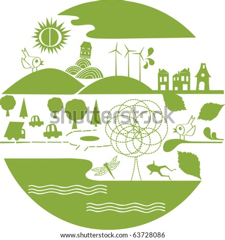 vector - green earth with nature element - stock vector