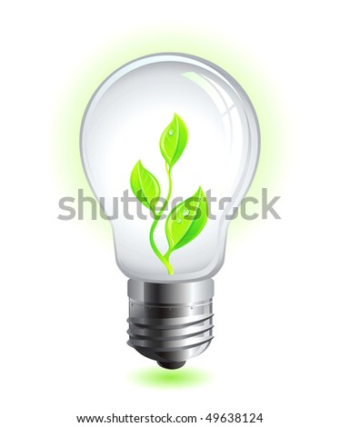 Vector green eco lamp with natural leaf