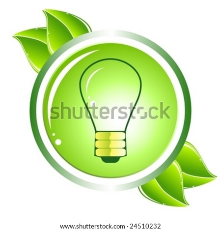Vector green energy recycling bulb icon