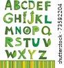 vector green floral alphabet - stock vector