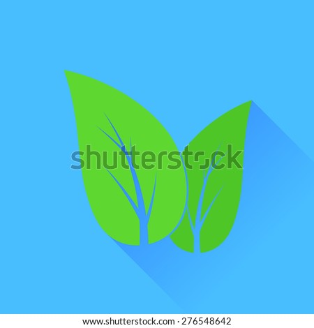 Vector Green Fresh Leaves Isolated on Blue Background. Organic Symbol. - stock vector