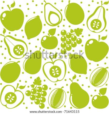 Vector green fruits background - stock vector