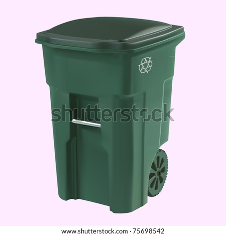 vector green garbage can - stock vector