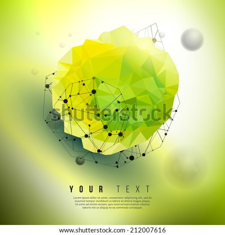 Vector green geometric concept. Eco friendly technology illustration. Retro styled creative design background. Futuristic design elements.