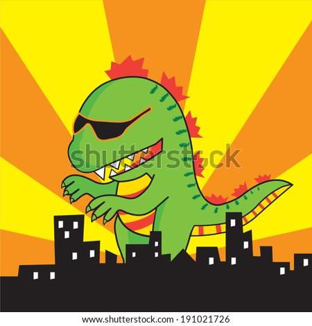 Vector green Godzilla is attacking the city, cartoon character - stock vector