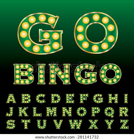 vector green golden entertainment and casino letters with bulb lamps - stock vector