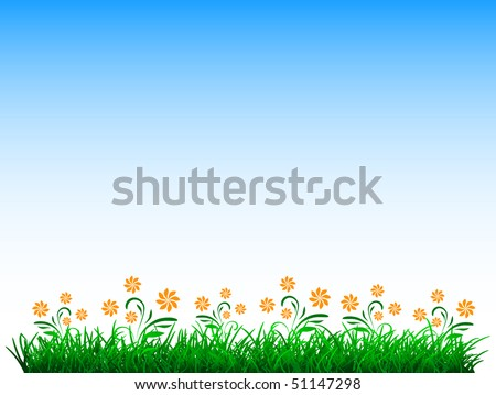 vector green grass with flowers