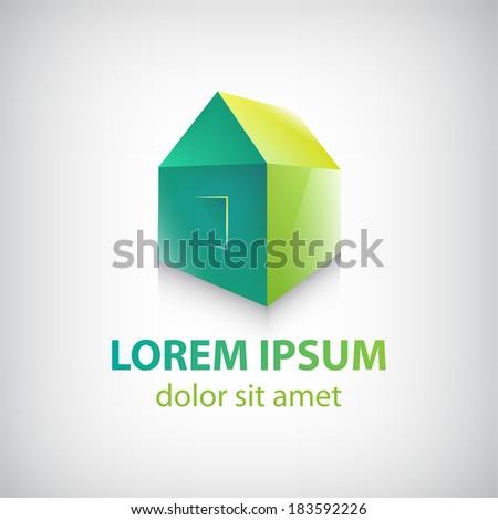 vector green house icon, logo isolated - stock vector