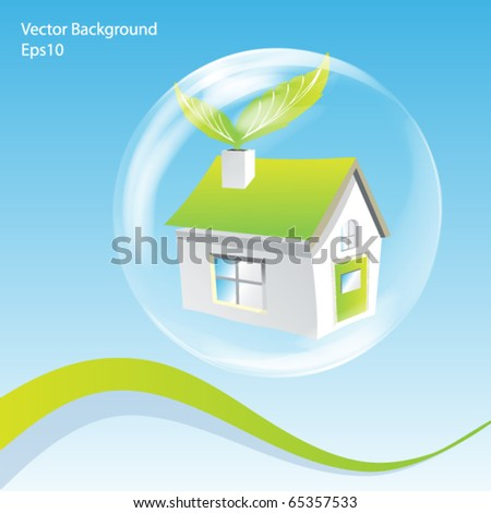 Vector Green House in a Bubble Illustration - stock vector