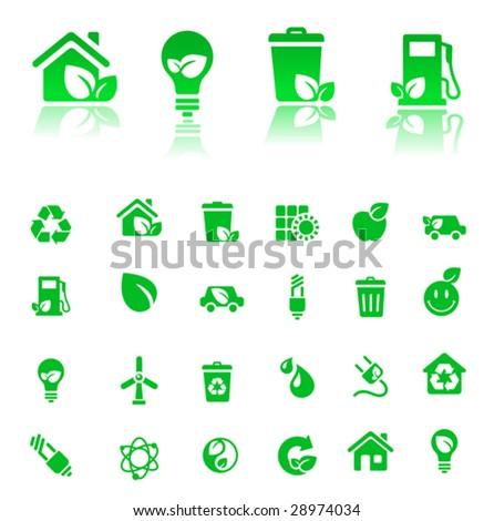 vector green-icons set - stock vector
