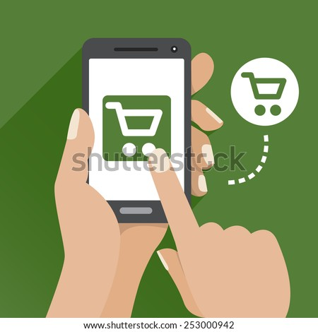 Vector green illustration of an online store for mobile phone  - stock vector