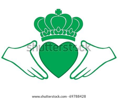 vector green Irish Claddagh, symbol of love, loyalty, and friendship - stock vector