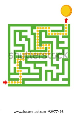 Vector green labyrinth with coins - stock vector