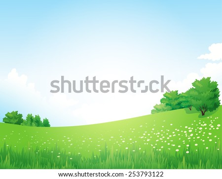 Vector Green Landscape with trees clouds flowers  - stock vector