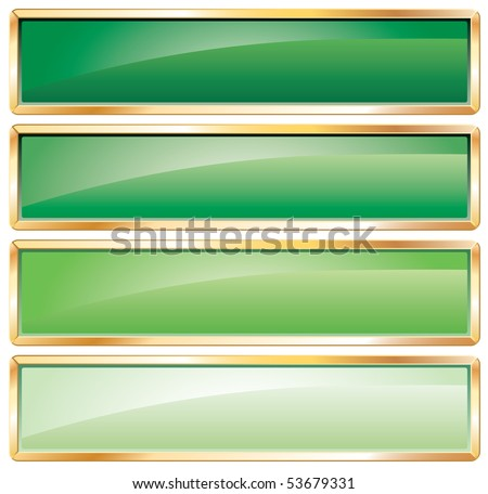 vector green long buttons with golden frame - stock vector