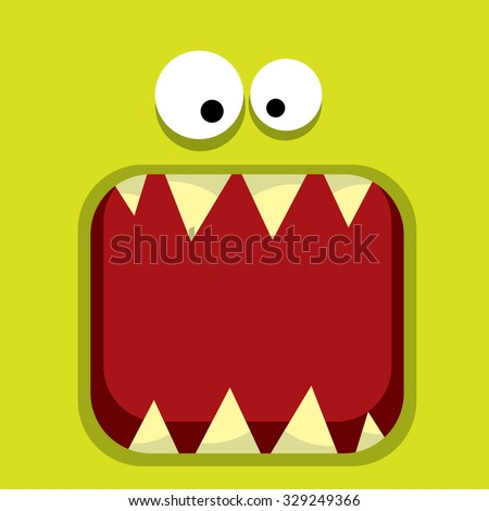 vector  green monster face - stock vector