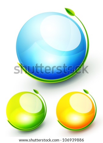 Vector green nature globe concept. Set of icons - stock vector