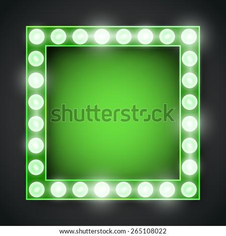 Vector green neon lights lamp vector frame template - stock vector