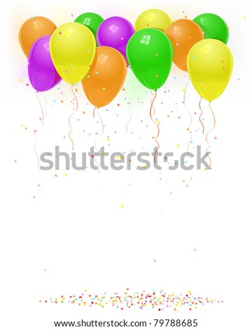 vector green orange yellow purple balloons with flying confetti birthday background