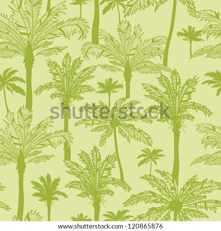 Vector green palm trees seamless pattern background with hand drawn elements. - stock vector