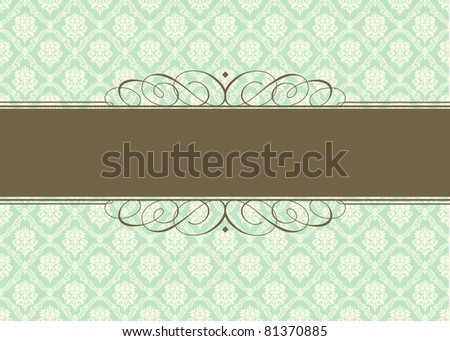 Vector Green Pastel Background and Ornamental Frame. Easy to edit. Perfect for invitations or announcements. - stock vector
