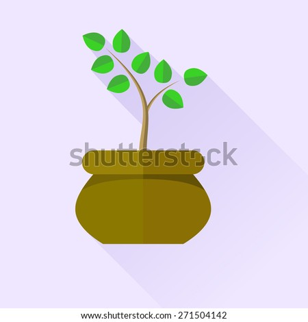 Vector Green Plant in Brown Pot Isolated on Blue Background - stock vector