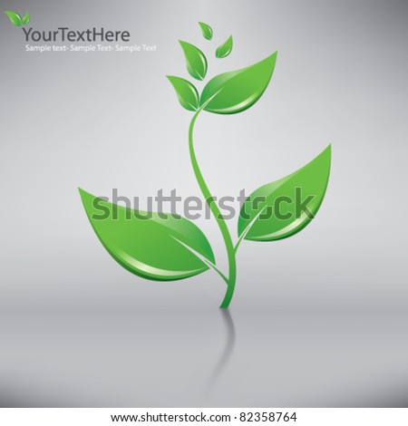 vector green plant with grey background
