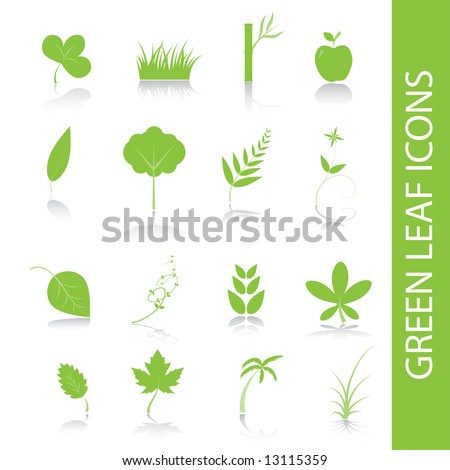 Vector - Green plants, leaves, trees icon symbol set. - stock vector