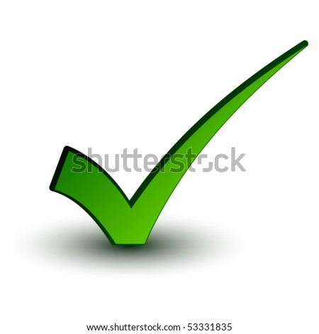 vector green positive checkmark - stock vector