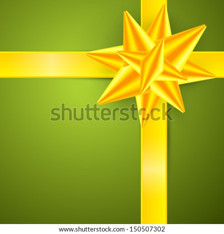 Vector Green Present Box Background With Yellow Ribbon  - stock vector