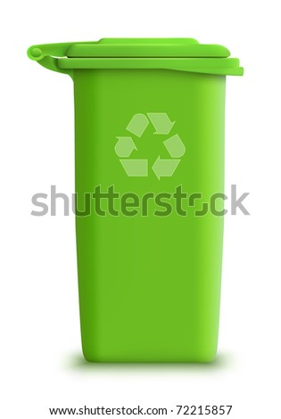 vector green recycle garbage can - stock vector