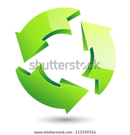 Vector green recycle symbol on isolated white background  - stock vector