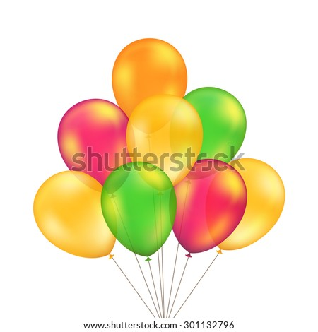 Vector Green Red Orange Yellow Balloons Set Isolated on White Background - stock vector