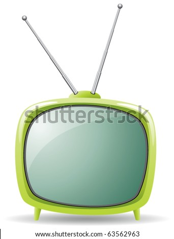 vector green retro tv set - stock vector