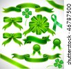 Vector green ribbon with clover - stock photo