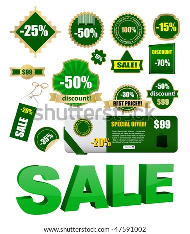vector green sale labels set